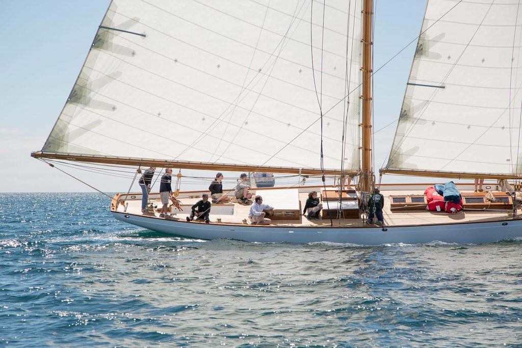 Side view of the Kelpie charter boat while at sea near Sag Harbor, New York.